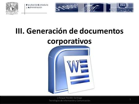 III. Generación de documentos corporativos