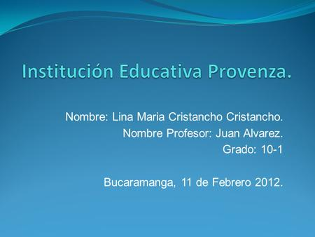 Institución Educativa Provenza.