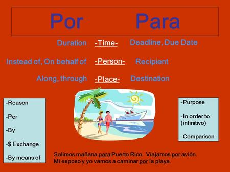 Por Para -Time- -Person- -Place- Duration Deadline, Due Date Instead of, On behalf ofRecipient Along, throughDestination -Reason -Per -By -$ Exchange -By.