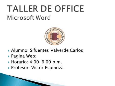 TALLER DE OFFICE Microsoft Word