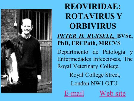 REOVIRIDAE: ROTAVIRUS Y ORBIVIRUS PETER H. RUSSELL, BVSc, PhD, FRCPath, MRCVS Departmento de Patología y Enfermedades Infecciosas, The Royal Veterinary.
