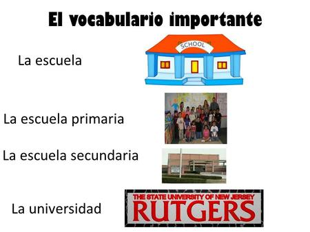 El vocabulario importante