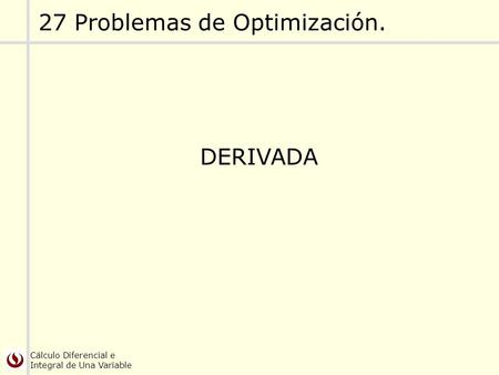 27 Problemas de Optimización.