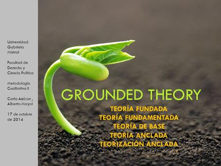 Teoría fundada Teoría fundamentada Grounded Theory GROUNDED THEORY TEORÍA FUNDADA TEORÍA FUNDAMENTADA TEORÍA DE BASE TEORÍA ANCLADA TEORIZACIÓN ANCLADA.