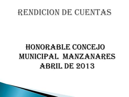 HONORABLE CONCEJO MUNICIPAL MANZANARES ABRIL DE 2013.