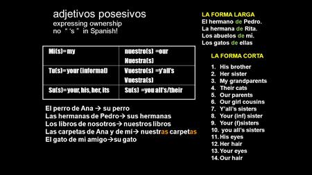 "Adjetivos posesivos expressing ownership no "" 's "" in Spanish! Mi(s)= mynuestro(s) =our Nuestra(s) Tu(s)= your (informal)Vuestro(s) =y'all's Vuestra(s)"