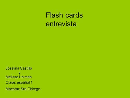 Flash cards entrevista