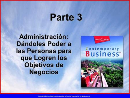 Copyright © 2005 by South-Western, a division of Thomson Learning, Inc. All rights reserved. Parte 3 Administración: Dándoles Poder a las Personas para.