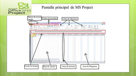 Pantalla principal de MS Project