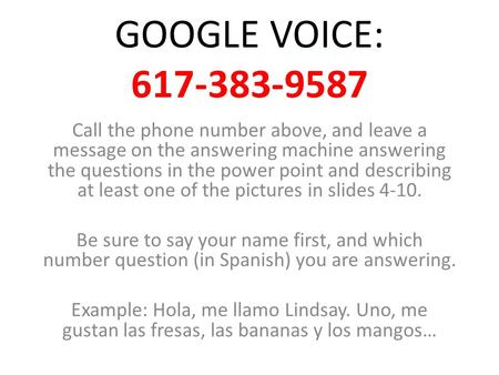 GOOGLE VOICE: 617-383-9587 Call the phone number above, and leave a message on the answering machine answering the questions in the power point and describing.