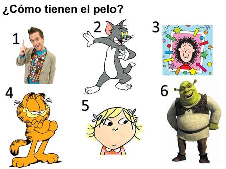 ¿Cómo tienen el pelo? 2 3 1 6 4 5 Ask pupils to say one sentence about the hair of each character. 1 = Mr Maker (e.g. Tiene el pelo castaño y corto) 2.