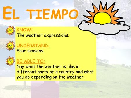 El tiempo KNOW: The weather expressions. UNDERSTAND: Four seasons.