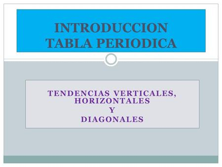 TENDENCIAS VERTICALES, HORIZONTALES Y DIAGONALES INTRODUCCION TABLA PERIODICA.