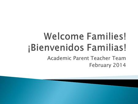 Academic Parent Teacher Team February 2014.  Welcome/Bienvenida  Introductions/Introducciones  Our Class Data/Los datos de la clase  Let's Practice!/¡Practicamos!