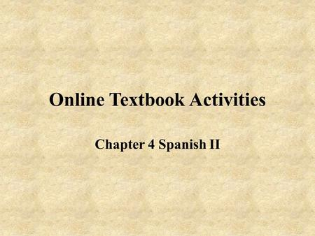 Online Textbook Activities