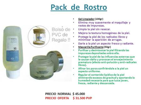Pack de Rostro PRECIO NORMAL $ PRECIO OFERTA $ PVP