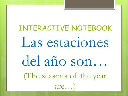INTERACTIVE NOTEBOOK Las estaciones del año son… (The seasons of the year are…) 1.