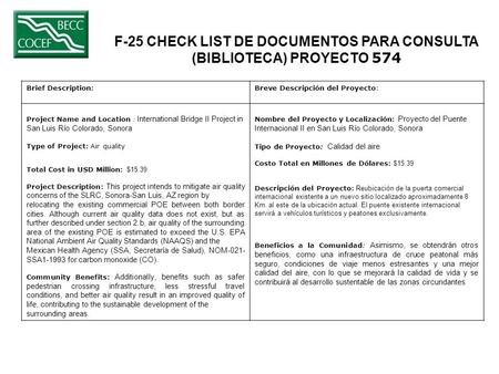 F-25 CHECK LIST DE DOCUMENTOS PARA CONSULTA (BIBLIOTECA) PROYECTO 574 Brief Description: Breve Descripción del Proyecto: Project Name and Location : International.