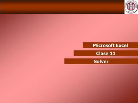 Microsoft Excel Clase 11 Solver.