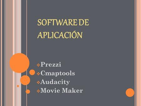 SOFTWARE DE APLICACIÓN  Prezzi  Cmaptools  Audacity  Movie Maker.