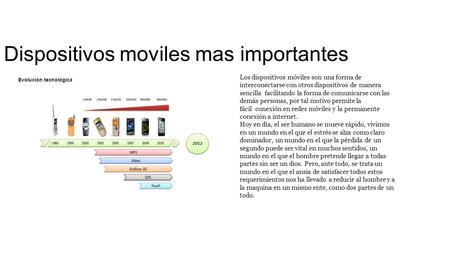 Dispositivos moviles mas importantes Los dispositivos móviles son una forma de interconectarse con otros dispositivos de manera sencilla facilitando la.