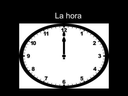 "La hora. The traditional way to tell time in Spanish is by dividing the clock in half. The right side uses ""y"" to add minutes to the hour. Once the minute."