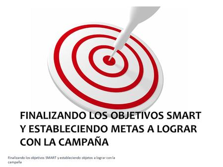 Finalizando los objetivos SMART y estableciendo metas a lograr con la campaña **This instructor note is slightly customized for each lesson.