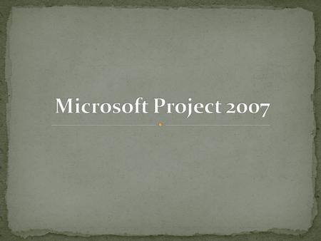 Microsoft Project 2007.