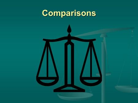 Comparisons. There are two forms of comparison Equal and unequal.