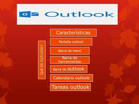 QUE ES OUTLOOK? Características Pantalla outlook Barra de menú Barra de herramientas Barra de outlook Calendario outlook Tareas outlook.
