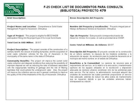 F-25 CHECK LIST DE DOCUMENTOS PARA CONSULTA (BIBLIOTECA) PROYECTO 479 Brief Description:Breve Descripción del Proyecto: Project Name and Location : Comprehensive.