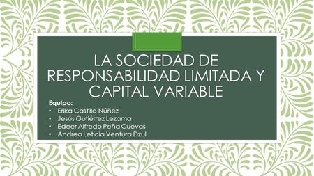 La sociedad de responsabilidad limitada y capital variable