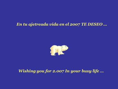 En tu ajetreada vida en el 2007 TE DESEO … Wishing you for 2.007 In your busy life …