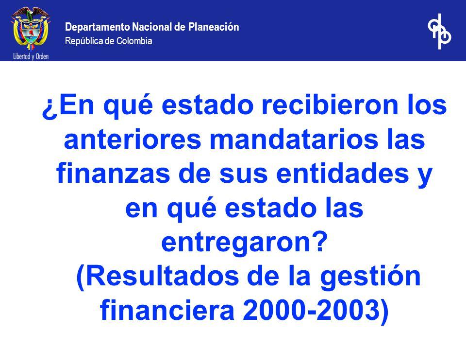 Departamento Nacional de Planeación República de Colombia Resultados de la gestión financiera de los departamentos 2000-2003