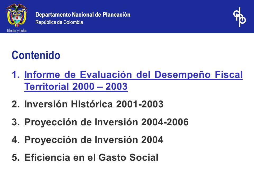 Departamento Nacional de Planeación República de Colombia Informe del DNP de los resultados del desempeño fiscal de los departamentos y municipios 2003 (balance de la gestión fiscal de los anteriores mandatarios) www.dnp.gov.co