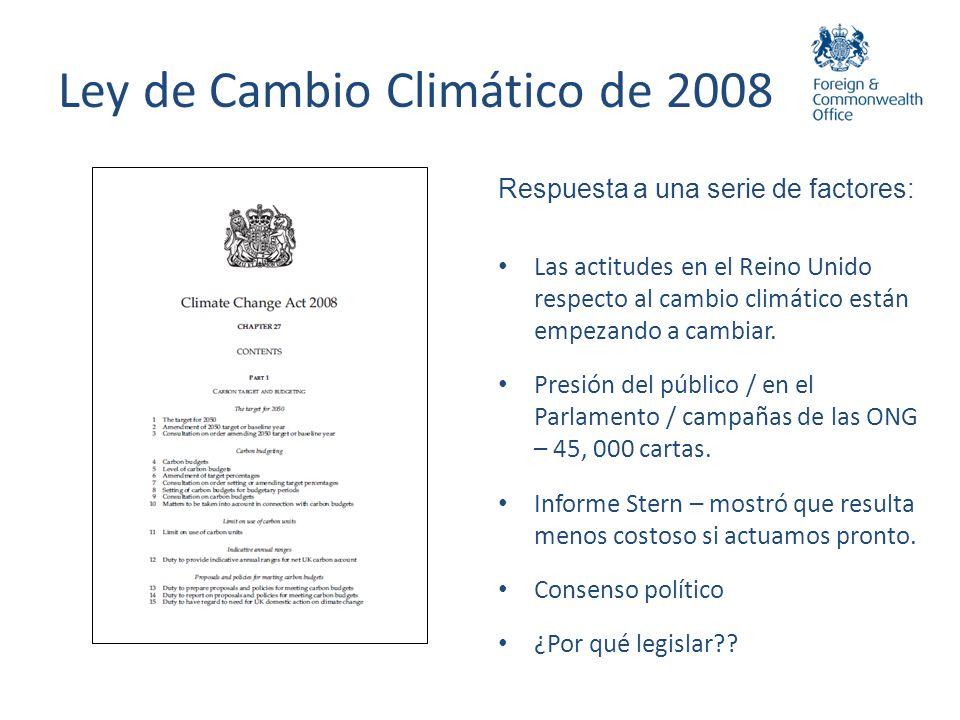 Ley de Cambio Climático: Objetivos UNCLASSIFIED Cumplir con los compromisos adquiridos por el Reino Unido y la comunidad internacional en materia de cambio climático.