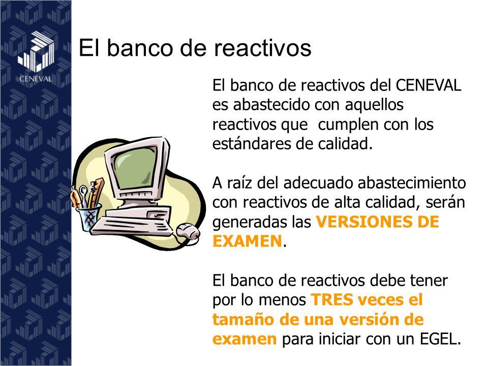 El banco de reactivos El banco de reactivos del CENEVAL es abastecido con aquellos reactivos que cumplen con los estándares de calidad.