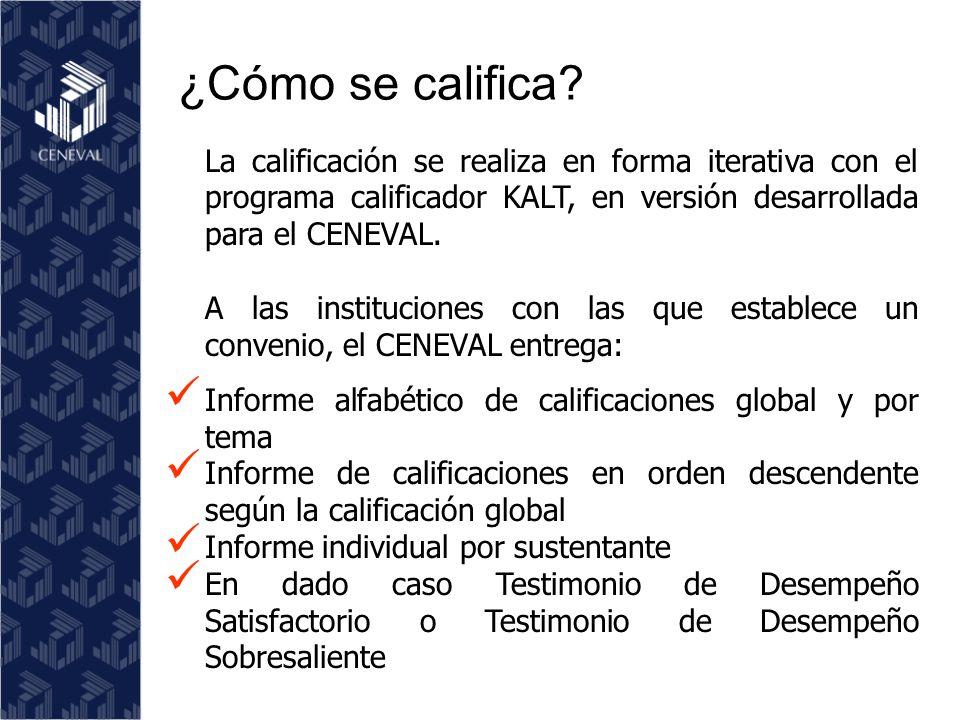 La calificación se realiza en forma iterativa con el programa calificador KALT, en versión desarrollada para el CENEVAL.