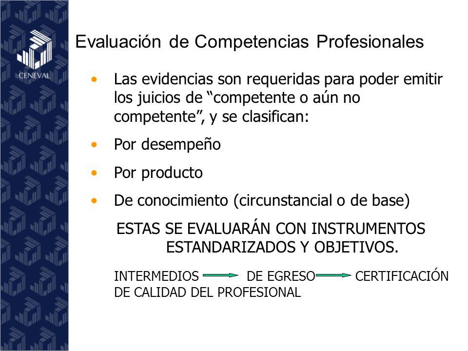 Las evidencias son requeridas para poder emitir los juicios de competente o aún no competente, y se clasifican: Por desempeño Por producto De conocimiento (circunstancial o de base) ESTAS SE EVALUARÁN CON INSTRUMENTOS ESTANDARIZADOS Y OBJETIVOS.
