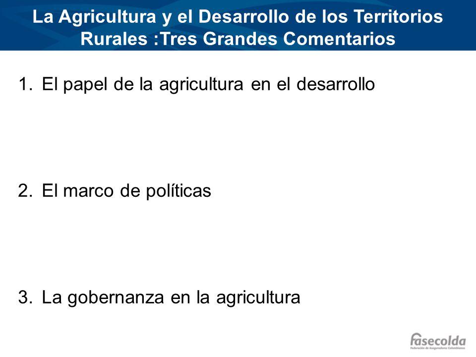 EL PAPEL DE LA AGRICULTURA EN EL DESARROLLO Primer Comentario