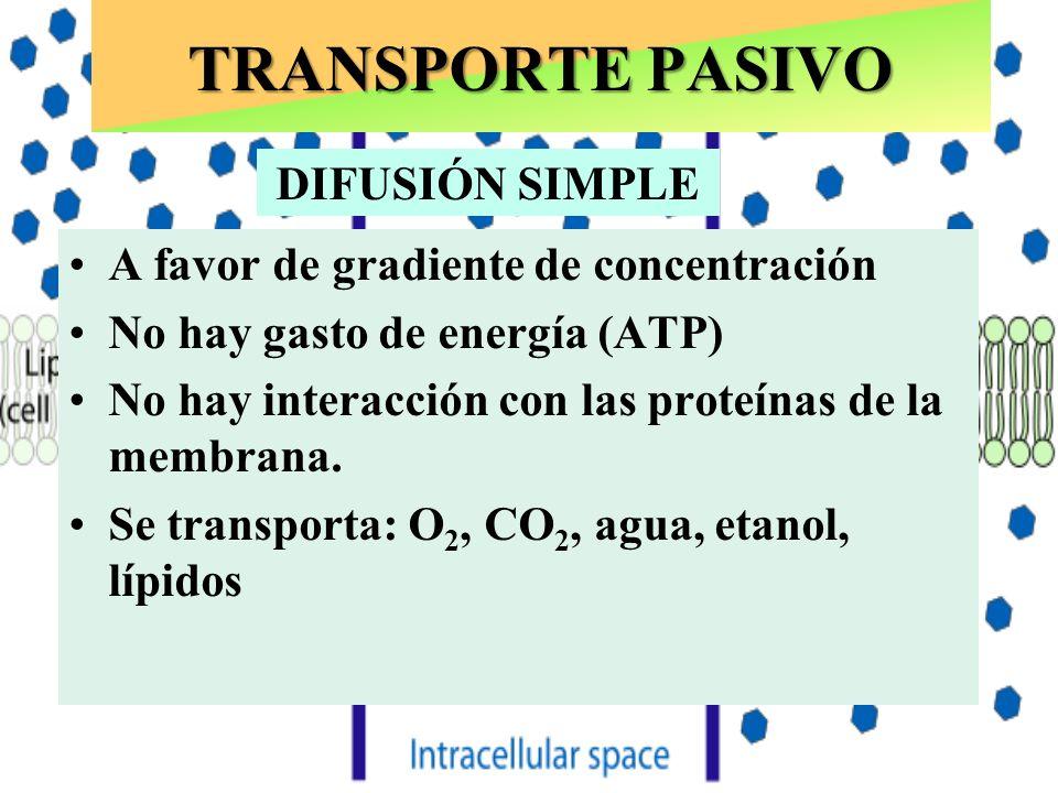 Puede ocurrir con o sin LIGANDO TRANSPORTE PASIVO A favor de gradiente de concentración No hay gasto de energía (ATP) SI hay interacción (Fijación específica) con las proteínas de la membrana.