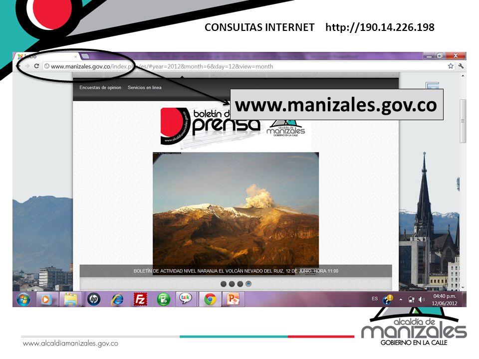 Sistema de Información Geográfica CONSULTAS INTERNET http://190.14.226.198