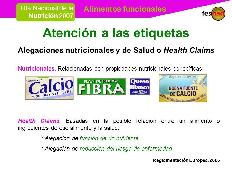 Alimentos funcionales Día Nacional de la Nutrición 2007 Como cualquier alimento, cumplen con las condiciones de higiene y seguridad.