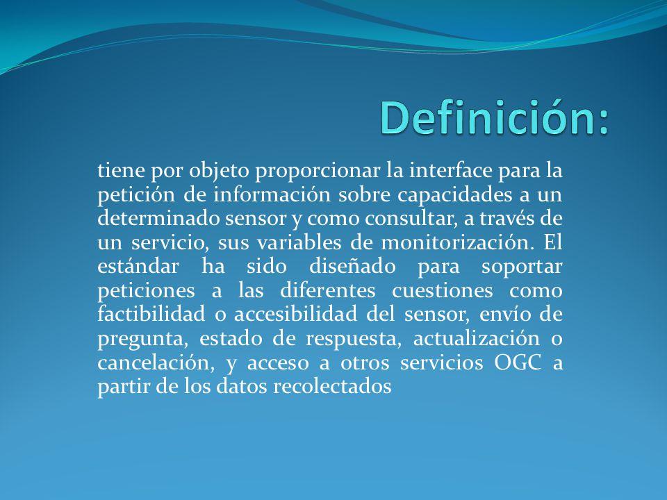Objetivo: Recuperar metadatos Opciones de parametrización Feasibility check Recursos de reserva necesarios Informar al servicio Recuperación del estado Actualización Acceso a datos del sensor Cancelación