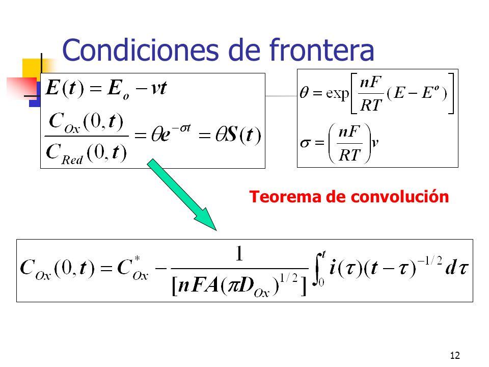 13 Perfiles de concentración de Ox y Red Ecuaciones generales de distribución de concentración (difusión semiinfinita, C x (x,0)=C x *, J total =J red +J ox, difusión lineal)