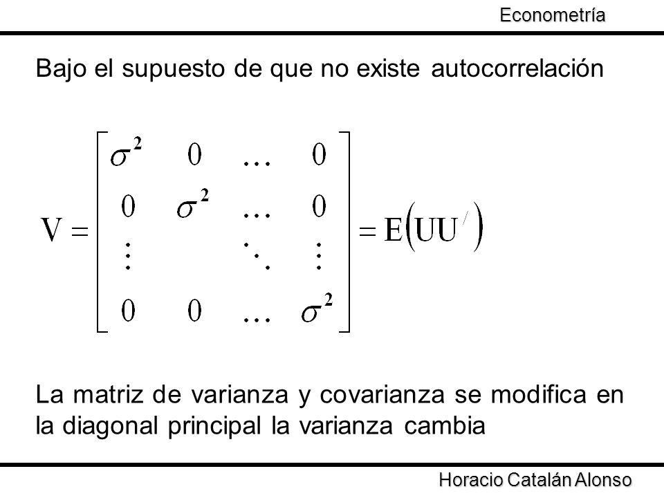 Taller de Econometría Horacio Catalán Alonso Econometría Existen diferentes especificaciones para la matriz V Se asuma que la varianza puede cambiar en cierta proporción dependiendo de la muestra