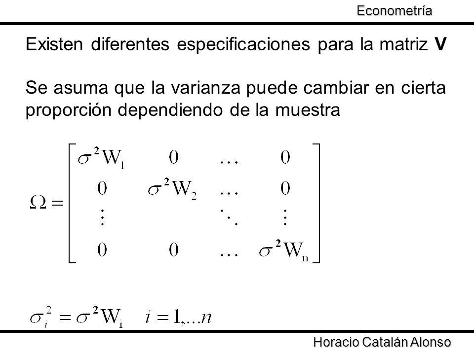 Taller de Econometría Horacio Catalán Alonso Econometría Que la varianza en cada punto de la muestra es proporcional al cuadrado de un regresor El aspecto fundamental es que la varianza de los errores cambia con el tamaño de la muestra