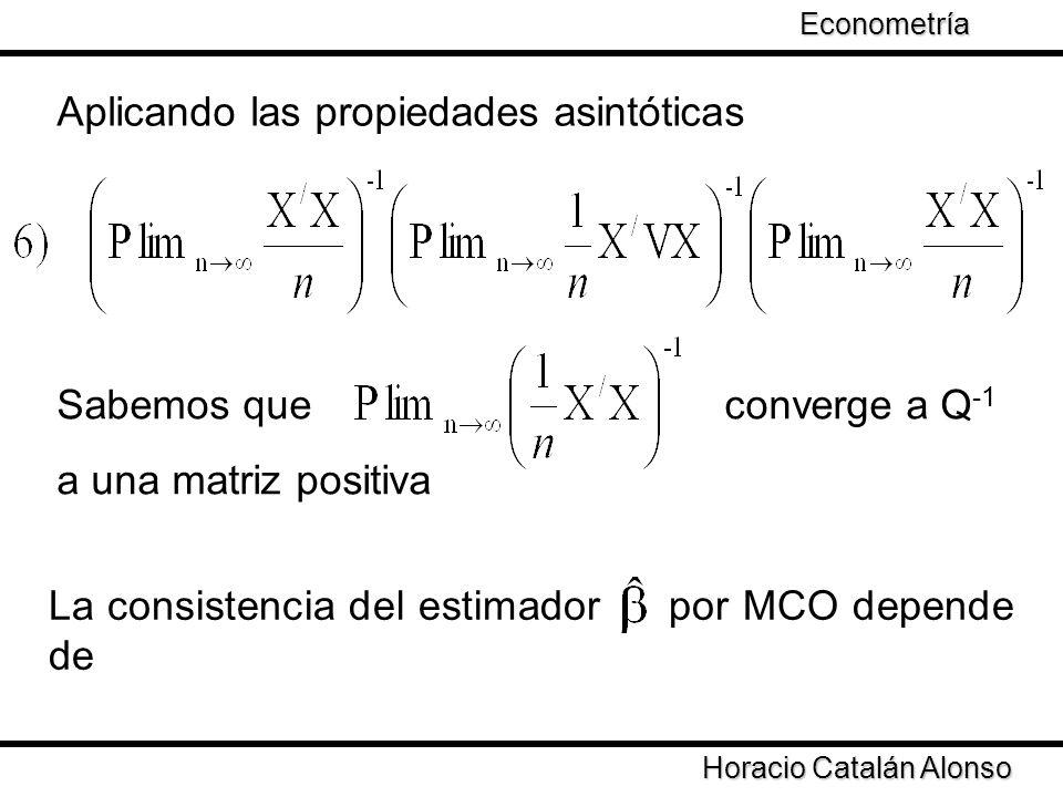 Taller de Econometría Horacio Catalán Alonso Econometría Aplicando las propiedades asintóticas Si converge a una matriz positiva el estimador converge al parámetro
