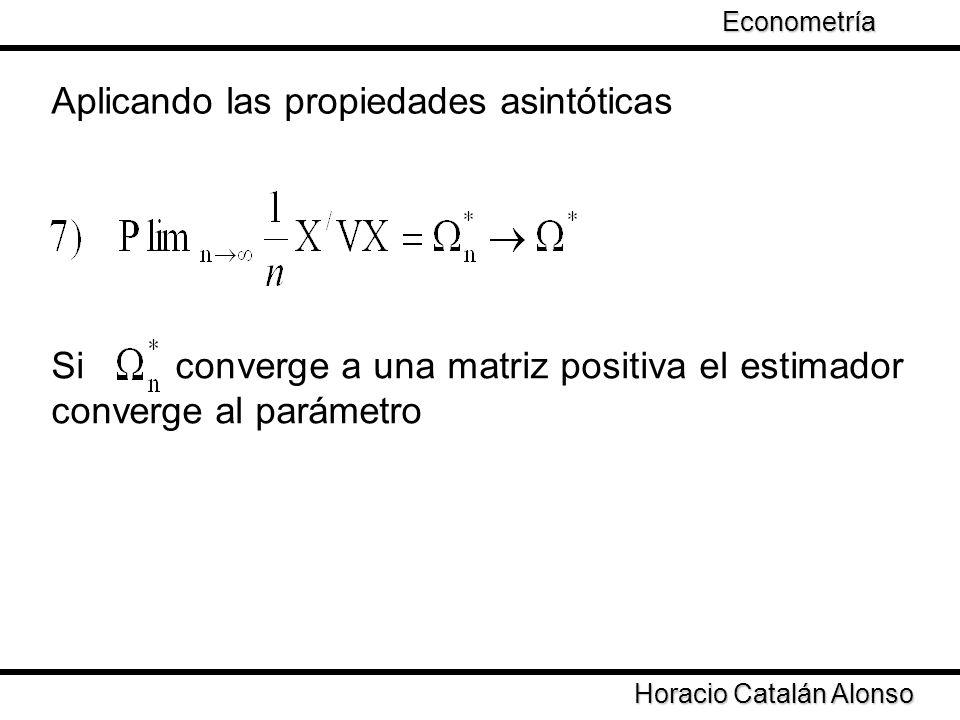 Taller de Econometría Horacio Catalán Alonso Econometría Si la varianza cambia en cada punto de la muestra que una proporción W i i= 1,…,n ¿De que depende la convergencia de la matriz XVX.