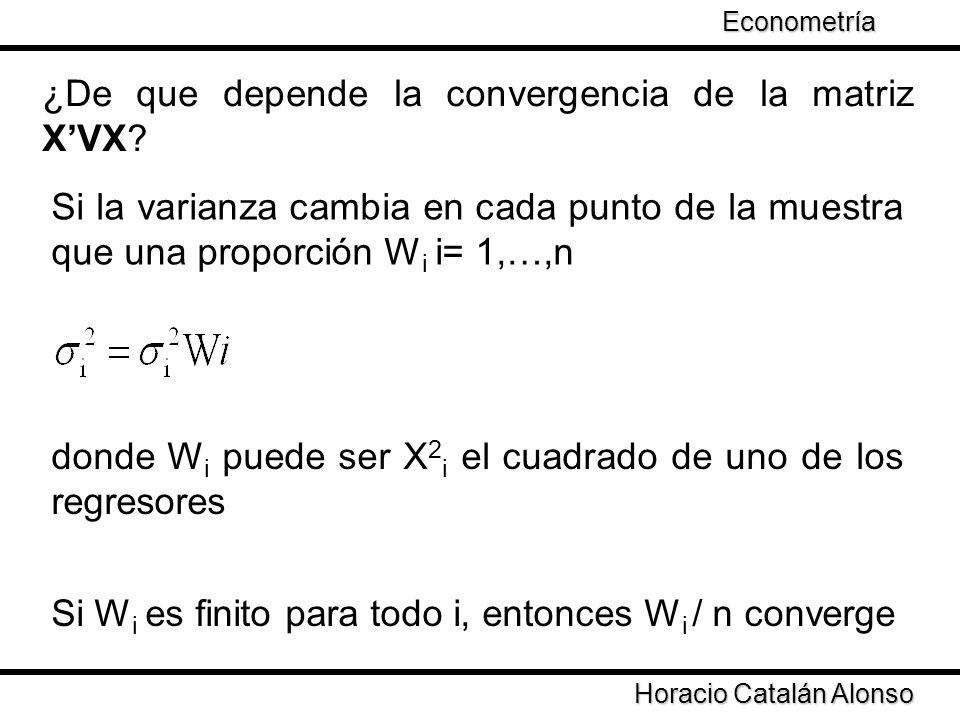Taller de Econometría Horacio Catalán Alonso Econometría XVX es la suma de cuadrados y el producto cruzado de los regresores ponderados por W i Observación Sea un modelo de consumo privado (CP) para un conjunto de familias el cual depende del ingreso (Y)y la riqueza financiera (RF)